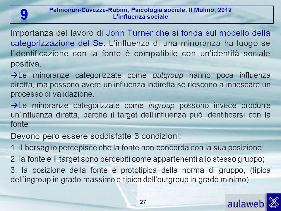 Palmonari-Cavazza-Rubini, Psicologia sociale, Il Mulino, 2012 L'influenza sociale Importanza del lavoro di John Turner che si fonda sul modello della