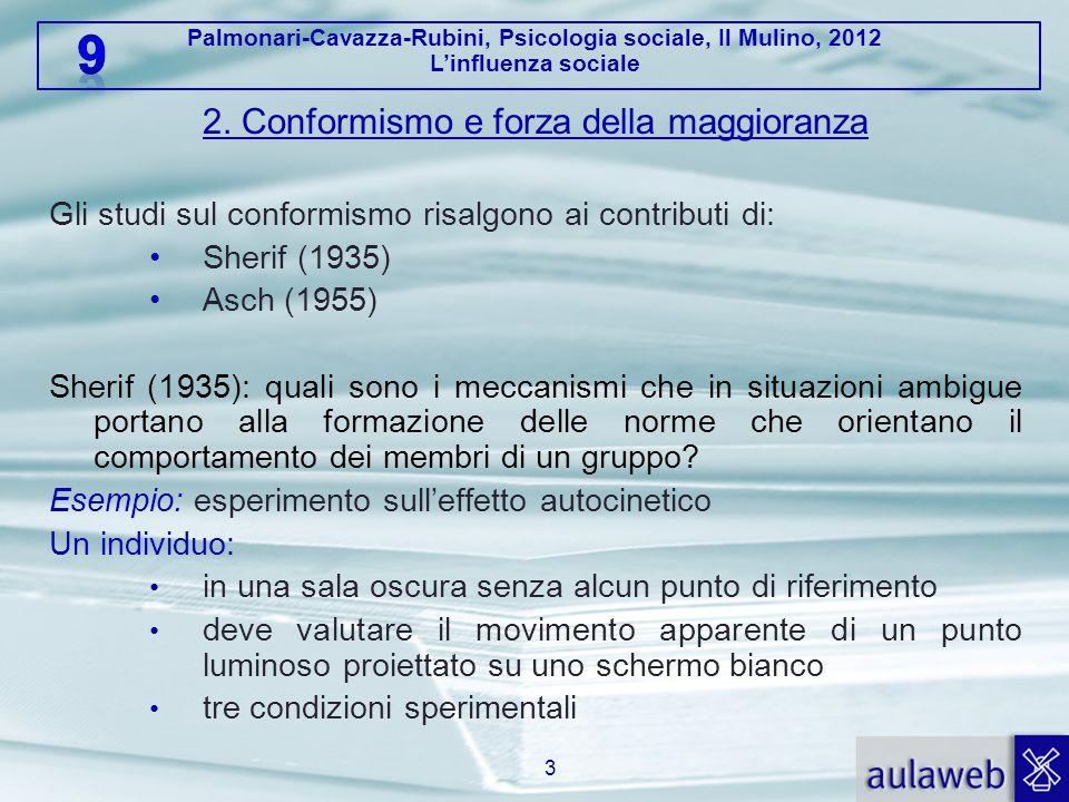 Palmonari-Cavazza-Rubini, Psicologia sociale, Il Mulino, 2012 L'influenza sociale 2. Conformismo e forza della maggioranza Gli studi sul conformismo r