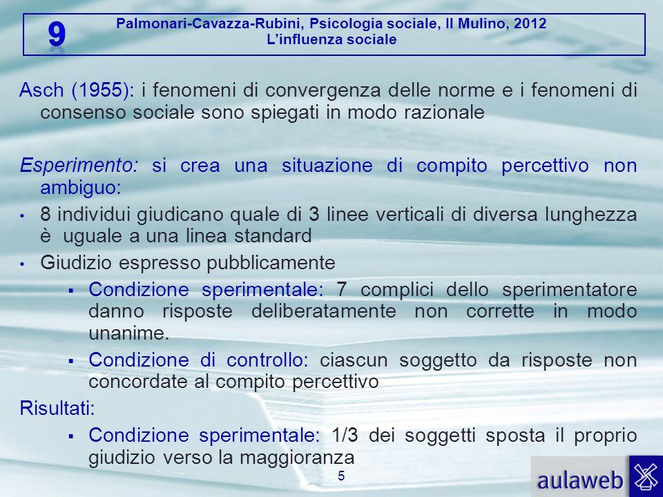 Palmonari-Cavazza-Rubini, Psicologia sociale, Il Mulino, 2012 L'influenza sociale Asch (1955): i fenomeni di convergenza delle norme e i fenomeni di c