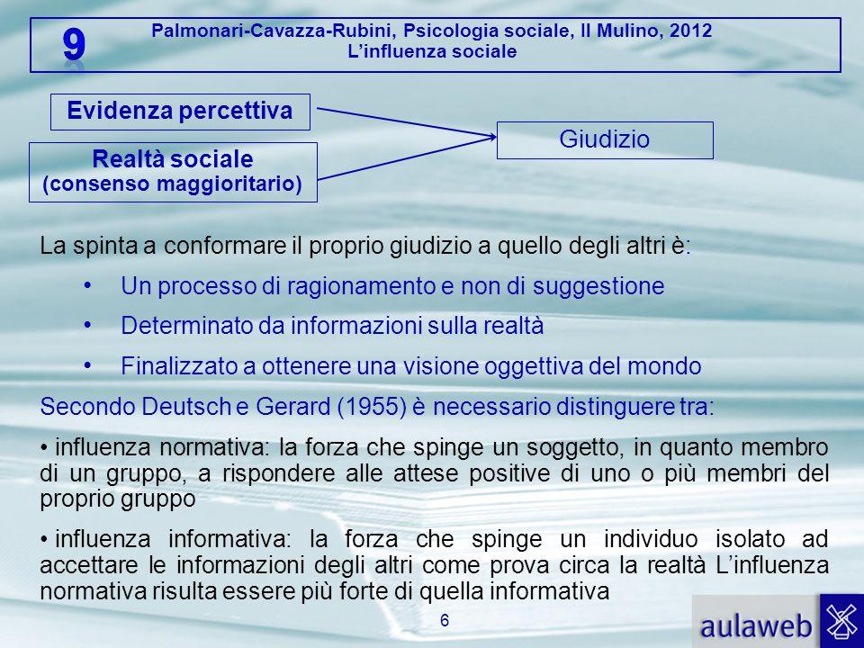 Palmonari-Cavazza-Rubini, Psicologia sociale, Il Mulino, 2012 L'influenza sociale 6 Giudizio Evidenza percettiva Realtà sociale (consenso maggioritari