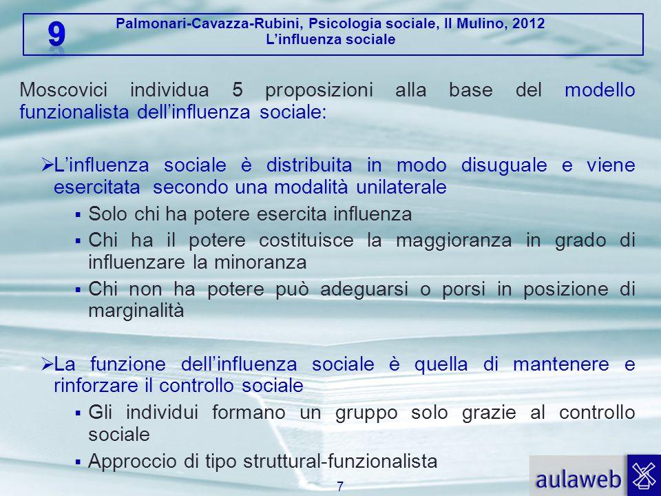Palmonari-Cavazza-Rubini, Psicologia sociale, Il Mulino, 2012 L'influenza sociale Moscovici individua 5 proposizioni alla base del modello funzionalis