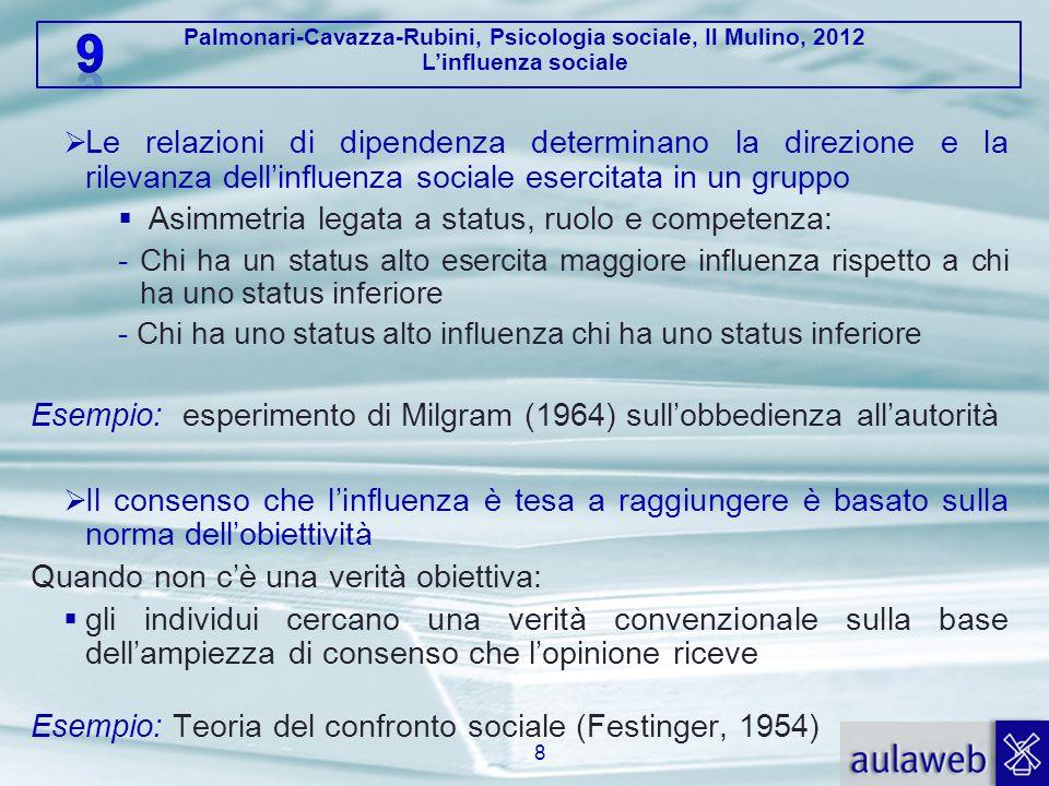 Palmonari-Cavazza-Rubini, Psicologia sociale, Il Mulino, 2012 L'influenza sociale  Le relazioni di dipendenza determinano la direzione e la rilevanza