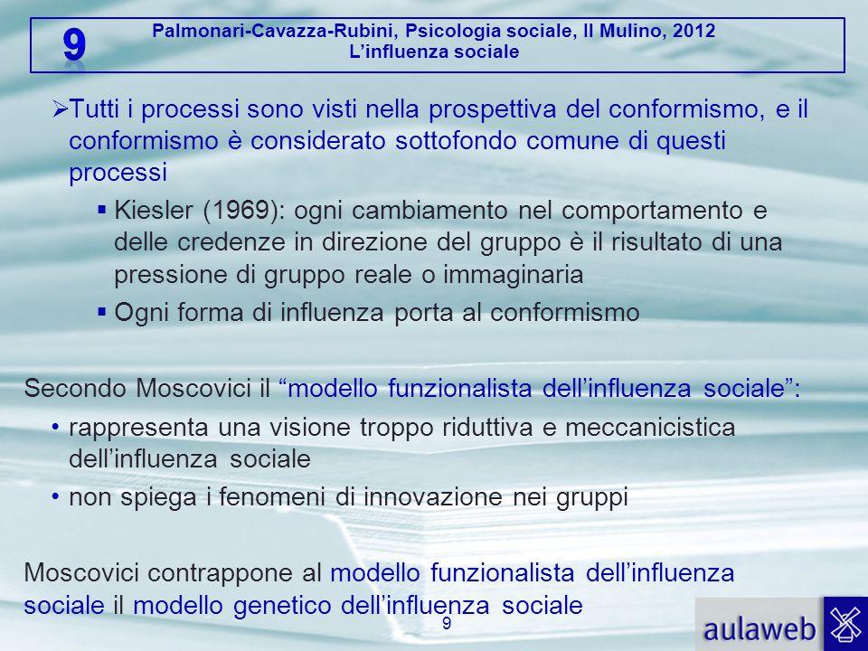 Palmonari-Cavazza-Rubini, Psicologia sociale, Il Mulino, 2012 L'influenza sociale  Tutti i processi sono visti nella prospettiva del conformismo, e i
