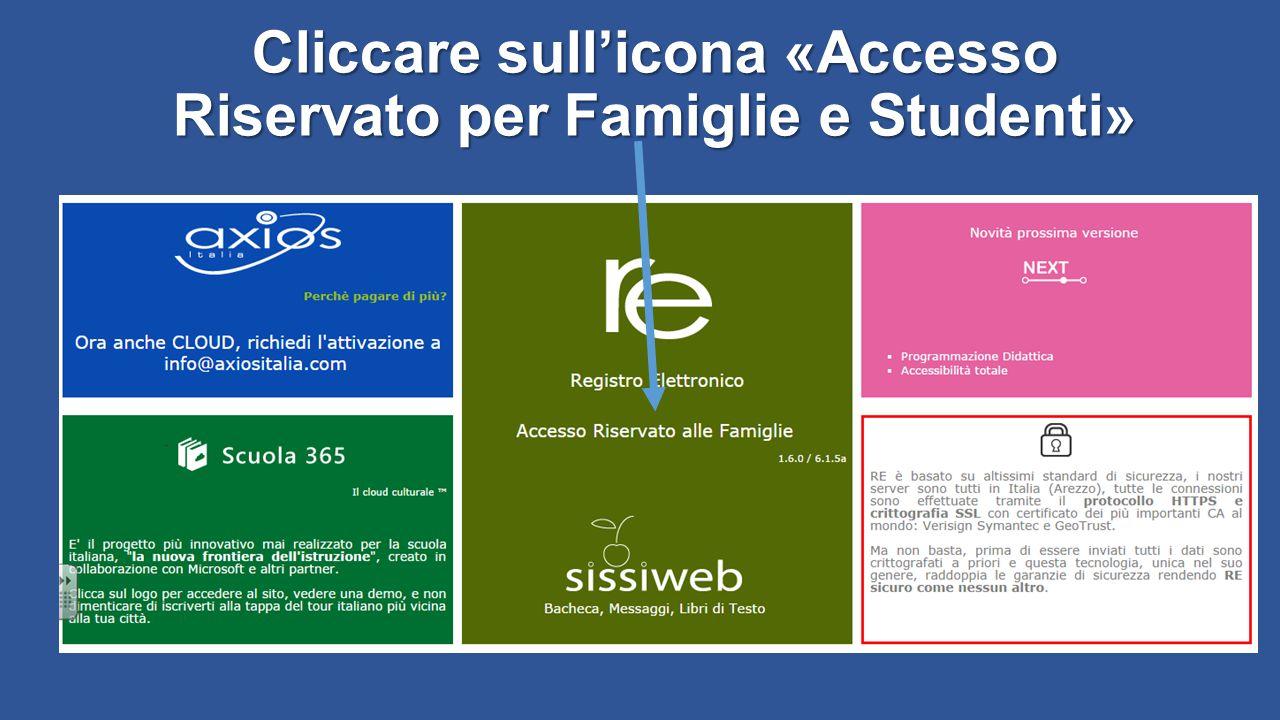 Cliccare sull'icona «Accesso Riservato per Famiglie e Studenti»