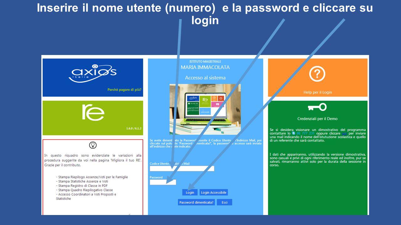 Inserire il nome utente (numero) e la password e cliccare su login