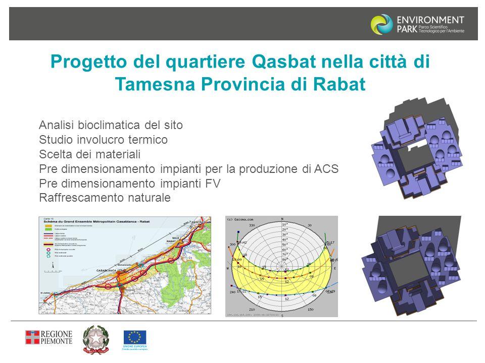 Progetto del quartiere Qasbat nella città di Tamesna Provincia di Rabat Analisi bioclimatica del sito Studio involucro termico Scelta dei materiali Pr