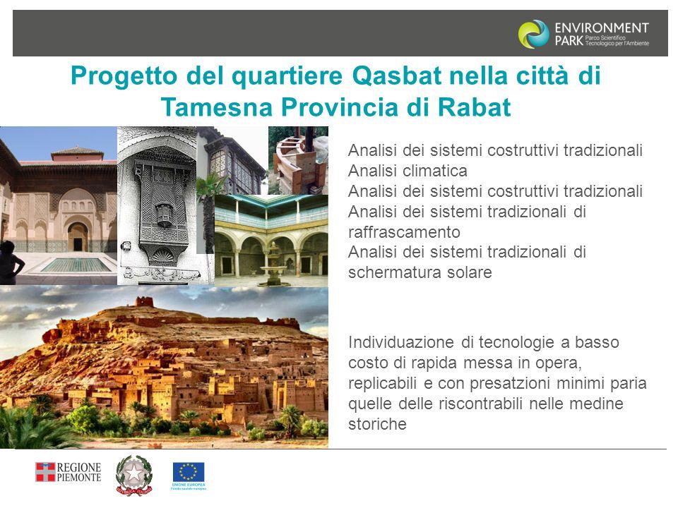 Progetto del quartiere Qasbat nella città di Tamesna Provincia di Rabat Analisi dei sistemi costruttivi tradizionali Analisi climatica Analisi dei sis