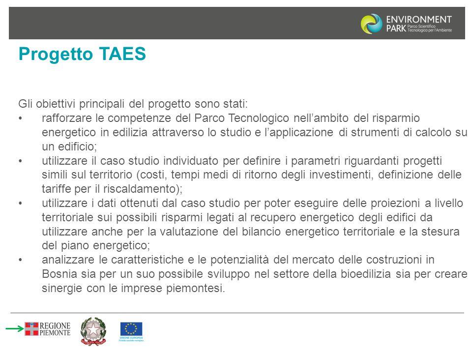 Progetto TAES Gli obiettivi principali del progetto sono stati: rafforzare le competenze del Parco Tecnologico nell'ambito del risparmio energetico in