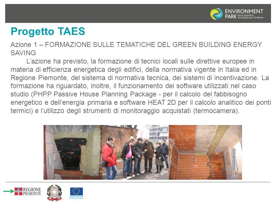 Progetto TAES Azione 1 – FORMAZIONE SULLE TEMATICHE DEL GREEN BUILDING ENERGY SAVING L'azione ha previsto, la formazione di tecnici locali sulle diret
