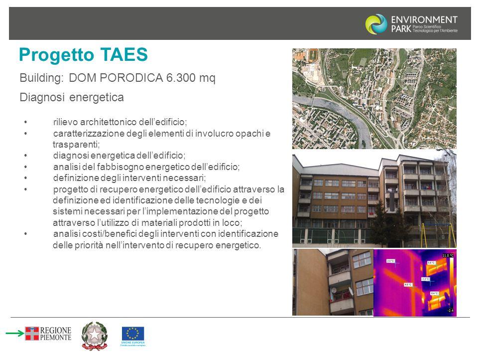 Progetto TAES Building: DOM PORODICA 6.300 mq rilievo architettonico dell'edificio; caratterizzazione degli elementi di involucro opachi e trasparenti