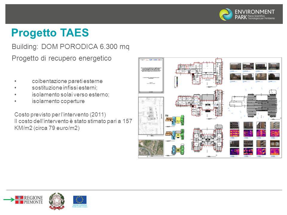 Progetto TAES Building: DOM PORODICA 6.300 mq coibentazione pareti esterne sostituzione infissi esterni; isolamento solai verso esterno; isolamento co