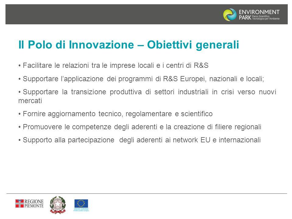 Il Polo di Innovazione – Obiettivi generali Facilitare le relazioni tra le imprese locali e i centri di R&S Supportare l'applicazione dei programmi di