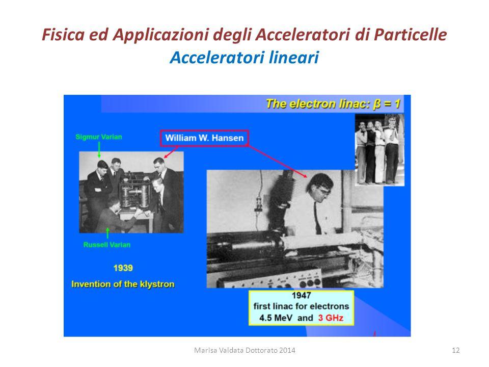 Fisica ed Applicazioni degli Acceleratori di Particelle Acceleratori lineari Marisa Valdata Dottorato 201412