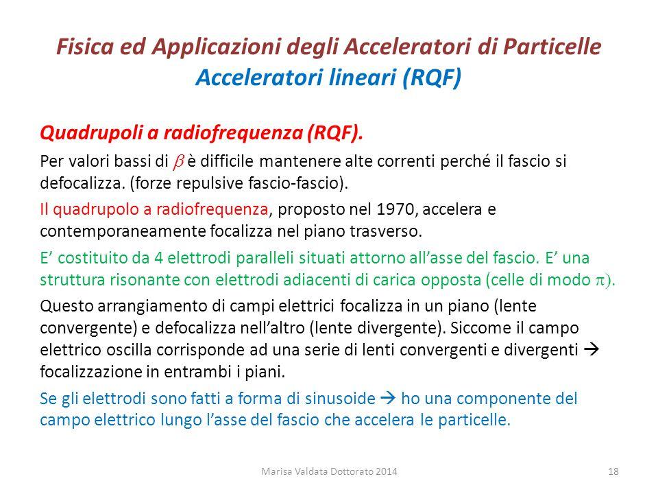 Fisica ed Applicazioni degli Acceleratori di Particelle Acceleratori lineari (RQF) Quadrupoli a radiofrequenza (RQF). Per valori bassi di  è difficil