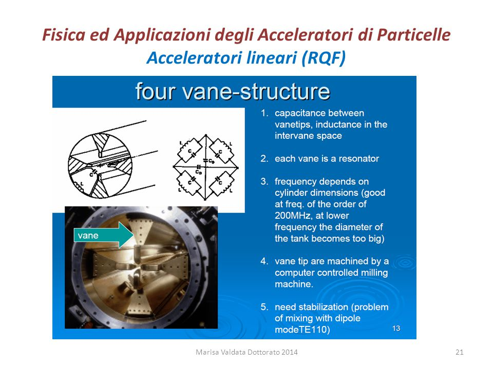 Fisica ed Applicazioni degli Acceleratori di Particelle Acceleratori lineari (RQF) Marisa Valdata Dottorato 201421