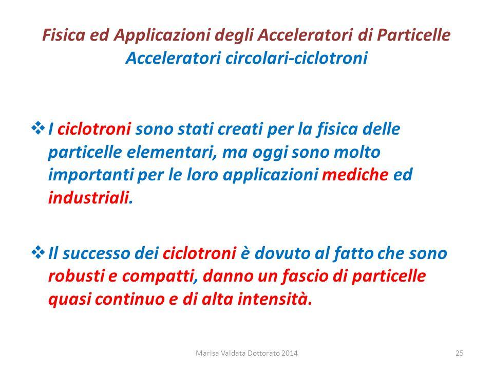 Fisica ed Applicazioni degli Acceleratori di Particelle Acceleratori circolari-ciclotroni  I ciclotroni sono stati creati per la fisica delle partice