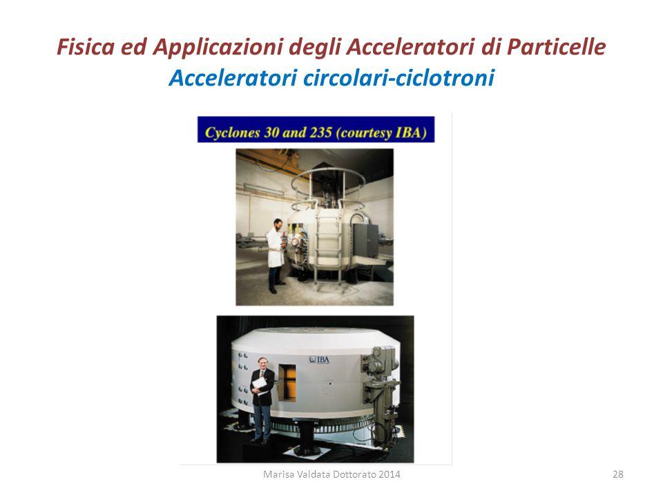 Fisica ed Applicazioni degli Acceleratori di Particelle Acceleratori circolari-ciclotroni Marisa Valdata Dottorato 201428