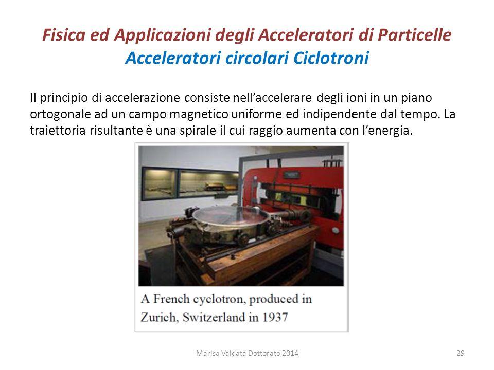 Fisica ed Applicazioni degli Acceleratori di Particelle Acceleratori circolari Ciclotroni Il principio di accelerazione consiste nell'accelerare degli