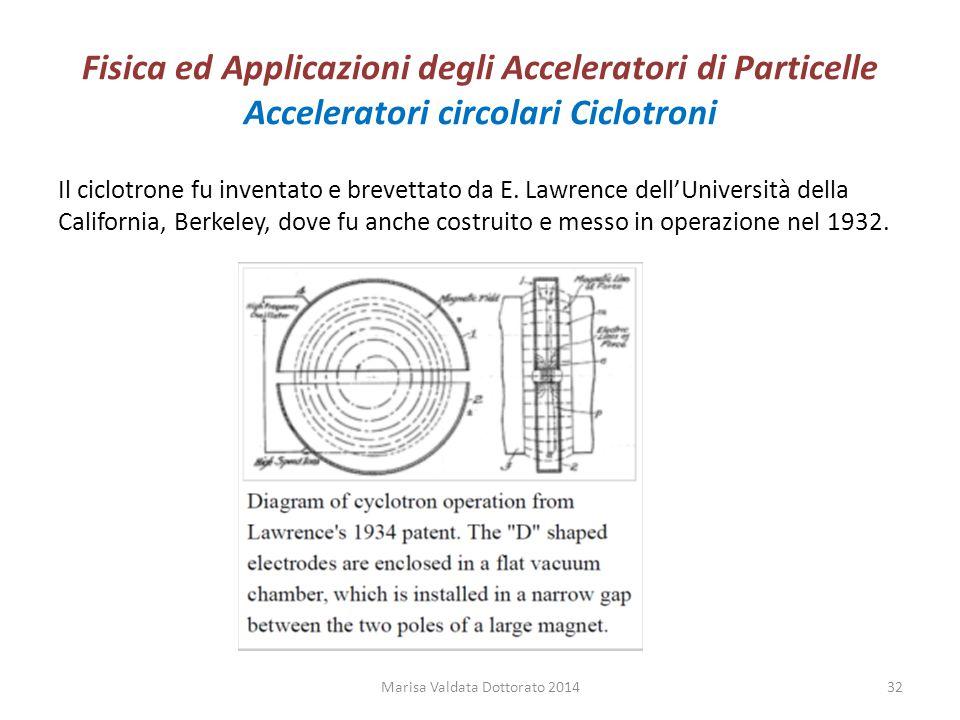 Fisica ed Applicazioni degli Acceleratori di Particelle Acceleratori circolari Ciclotroni Il ciclotrone fu inventato e brevettato da E. Lawrence dell'