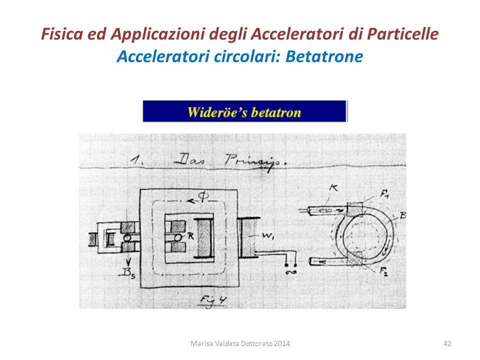 Fisica ed Applicazioni degli Acceleratori di Particelle Acceleratori circolari: Betatrone Marisa Valdata Dottorato 201442