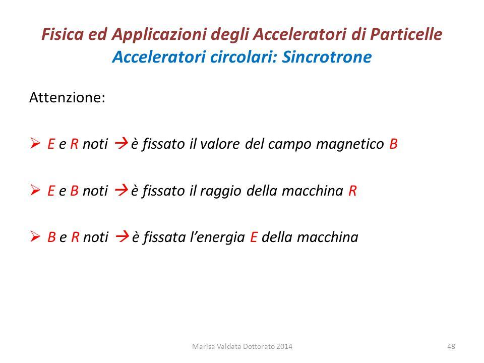Fisica ed Applicazioni degli Acceleratori di Particelle Acceleratori circolari: Sincrotrone Attenzione:  E e R noti  è fissato il valore del campo m
