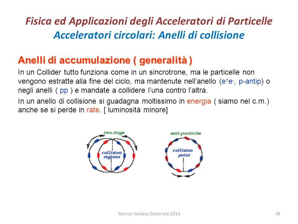 Fisica ed Applicazioni degli Acceleratori di Particelle Acceleratori circolari: Anelli di collisione Anelli di accumulazione ( generalità ) In un Coll