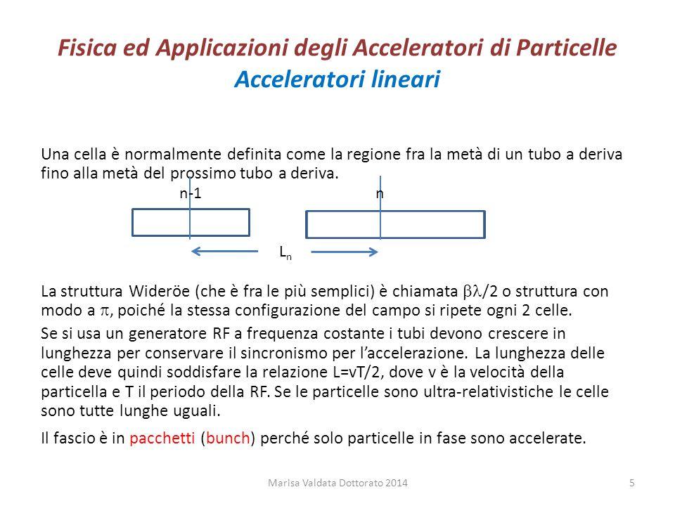 Fisica ed Applicazioni degli Acceleratori di Particelle Acceleratori lineari Una cella è normalmente definita come la regione fra la metà di un tubo a