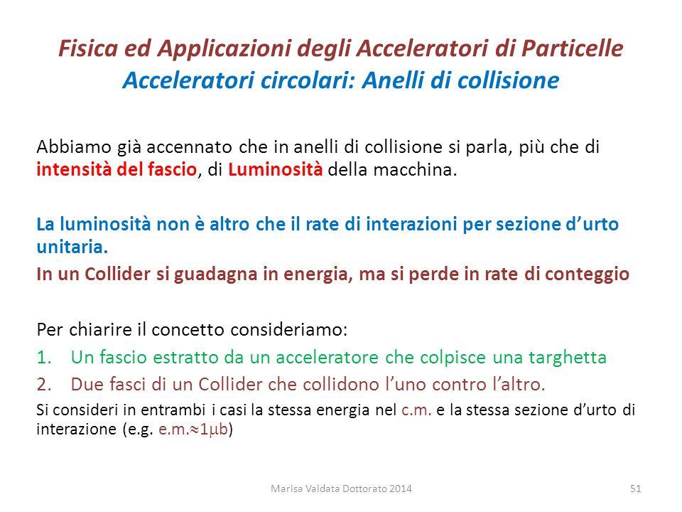 Fisica ed Applicazioni degli Acceleratori di Particelle Acceleratori circolari: Anelli di collisione Abbiamo già accennato che in anelli di collisione
