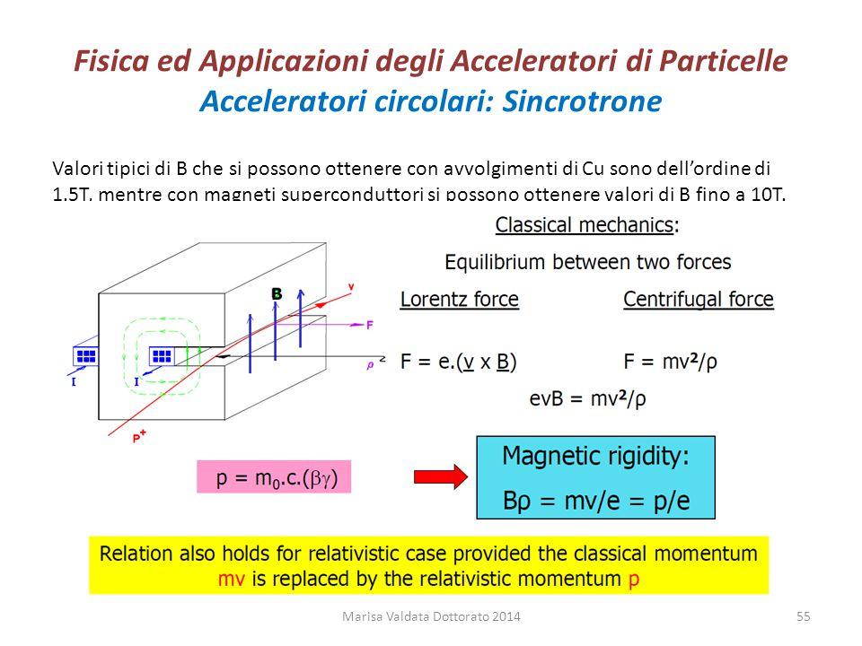 Fisica ed Applicazioni degli Acceleratori di Particelle Acceleratori circolari: Sincrotrone Valori tipici di B che si possono ottenere con avvolgiment