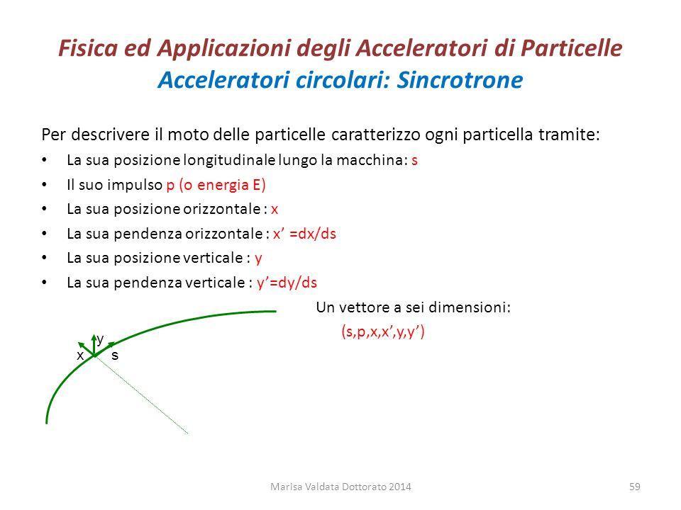 Fisica ed Applicazioni degli Acceleratori di Particelle Acceleratori circolari: Sincrotrone Per descrivere il moto delle particelle caratterizzo ogni