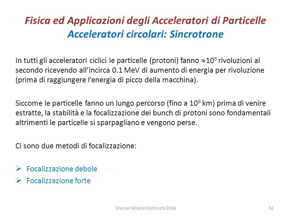 Fisica ed Applicazioni degli Acceleratori di Particelle Acceleratori circolari: Sincrotrone In tutti gli acceleratori ciclici le particelle (protoni)