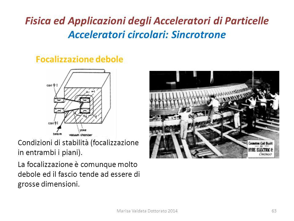 Fisica ed Applicazioni degli Acceleratori di Particelle Acceleratori circolari: Sincrotrone Focalizzazione debole Condizioni di stabilità (focalizzazi
