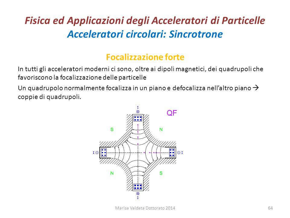 Fisica ed Applicazioni degli Acceleratori di Particelle Acceleratori circolari: Sincrotrone Focalizzazione forte In tutti gli acceleratori moderni ci