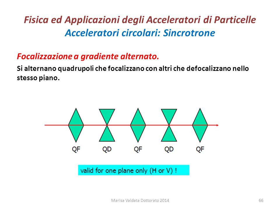 Fisica ed Applicazioni degli Acceleratori di Particelle Acceleratori circolari: Sincrotrone Marisa Valdata Dottorato 201466 Focalizzazione a gradiente