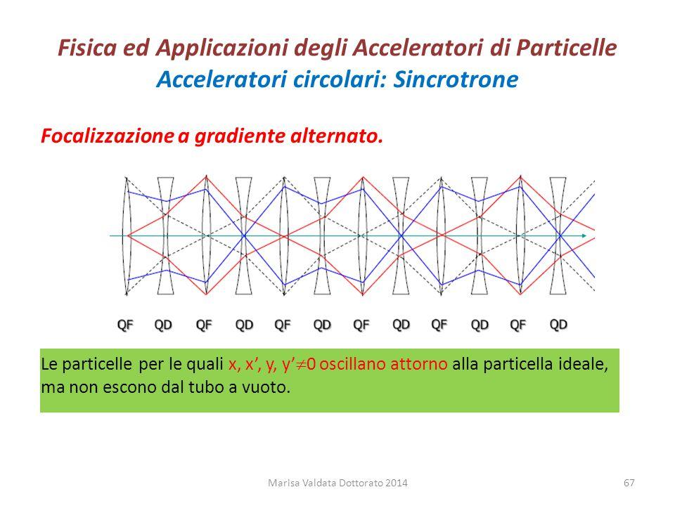 Fisica ed Applicazioni degli Acceleratori di Particelle Acceleratori circolari: Sincrotrone Focalizzazione a gradiente alternato. Le particelle per le