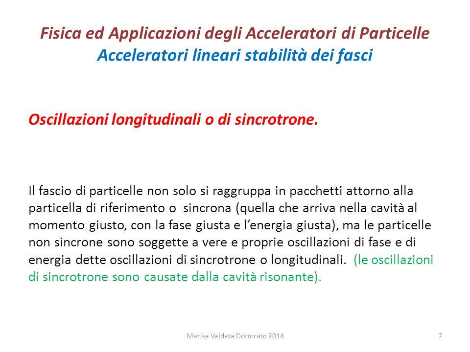 Fisica ed Applicazioni degli Acceleratori di Particelle Acceleratori lineari stabilità dei fasci Oscillazioni longitudinali o di sincrotrone. Il fasci