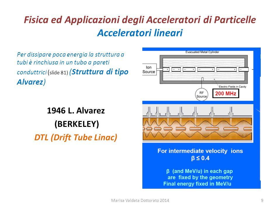 Fisica ed Applicazioni degli Acceleratori di Particelle Acceleratori lineari Per dissipare poca energia la struttura a tubi è rinchiusa in un tubo a p