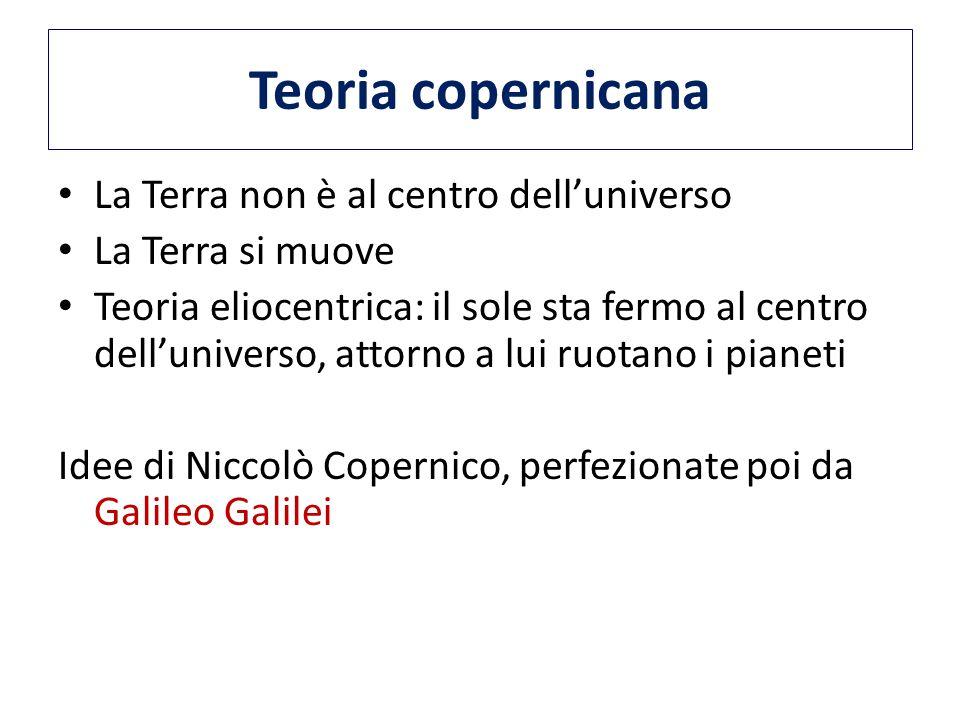 Teoria copernicana La Terra non è al centro dell'universo La Terra si muove Teoria eliocentrica: il sole sta fermo al centro dell'universo, attorno a