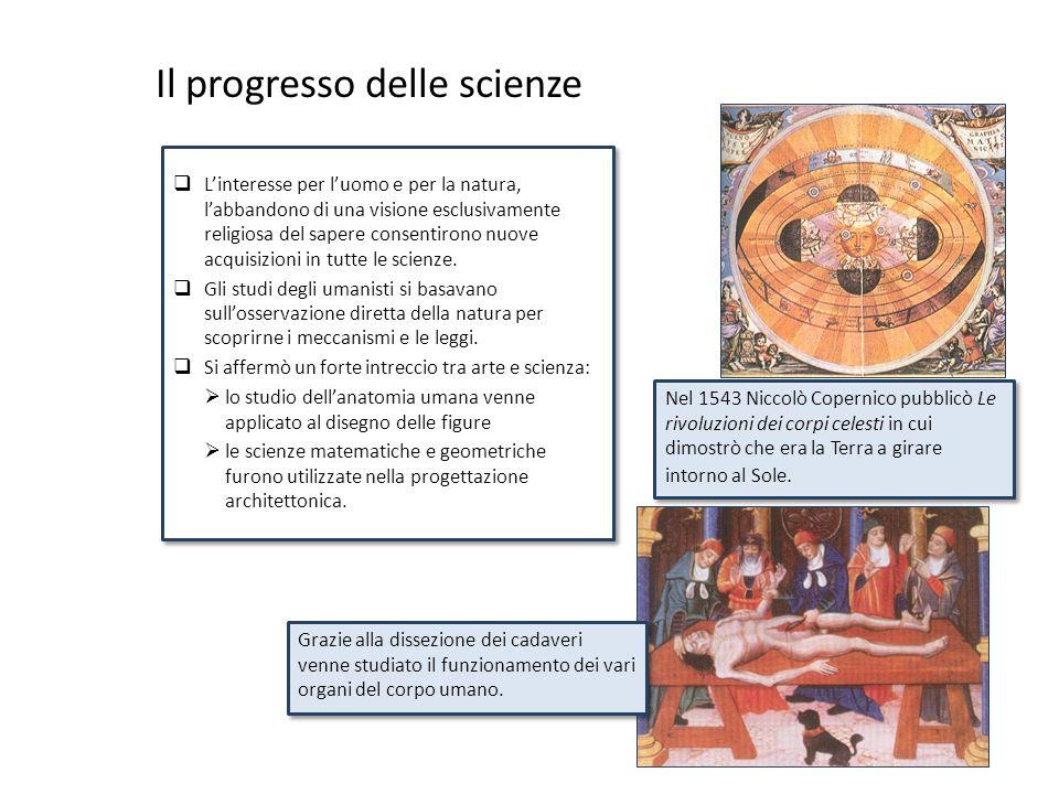 Il progresso delle scienze  L'interesse per l'uomo e per la natura, l'abbandono di una visione esclusivamente religiosa del sapere consentirono nuove