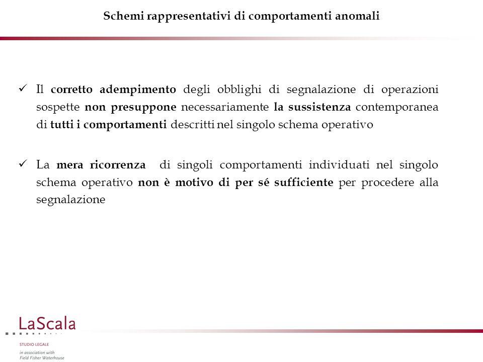 Schemi rappresentativi di comportamenti anomali Il corretto adempimento degli obblighi di segnalazione di operazioni sospette non presuppone necessari