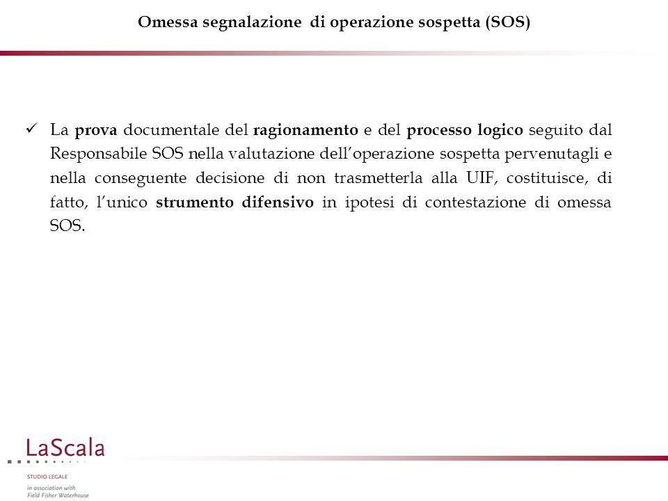 Omessa segnalazione di operazione sospetta (SOS) La prova documentale del ragionamento e del processo logico seguito dal Responsabile SOS nella valutazione dell'operazione sospetta pervenutagli e nella conseguente decisione di non trasmetterla alla UIF, costituisce, di fatto, l'unico strumento difensivo in ipotesi di contestazione di omessa SOS.