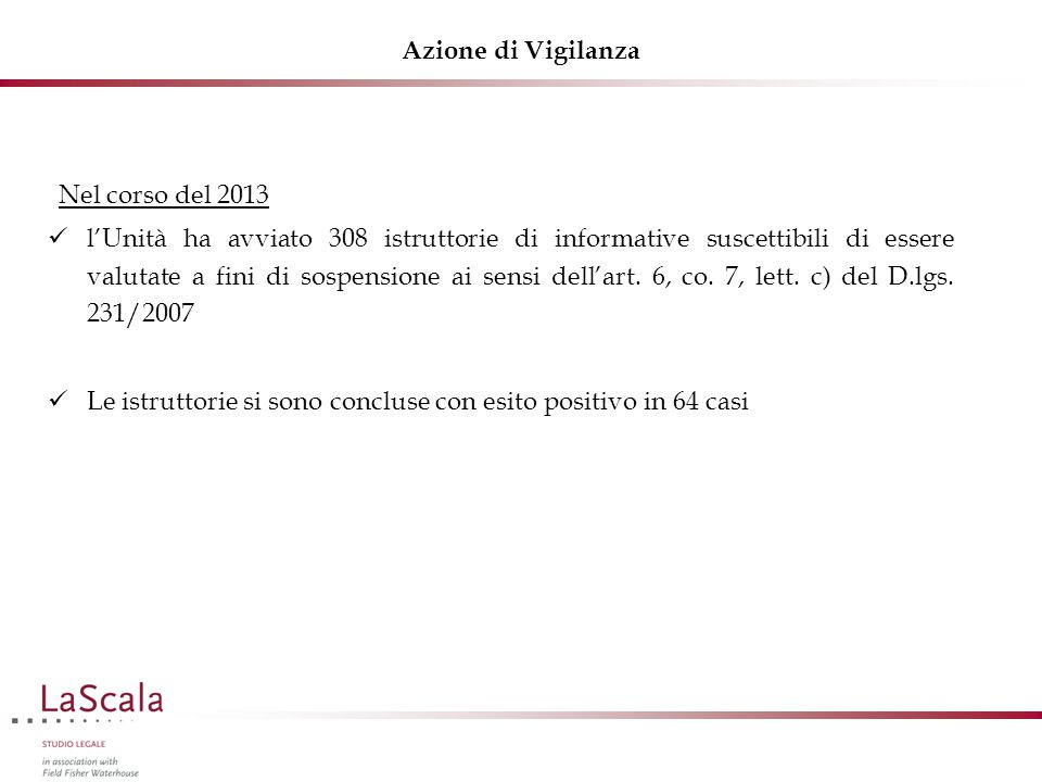 Azione di Vigilanza Nel corso del 2013 l'Unità ha avviato 308 istruttorie di informative suscettibili di essere valutate a fini di sospensione ai sensi dell'art.