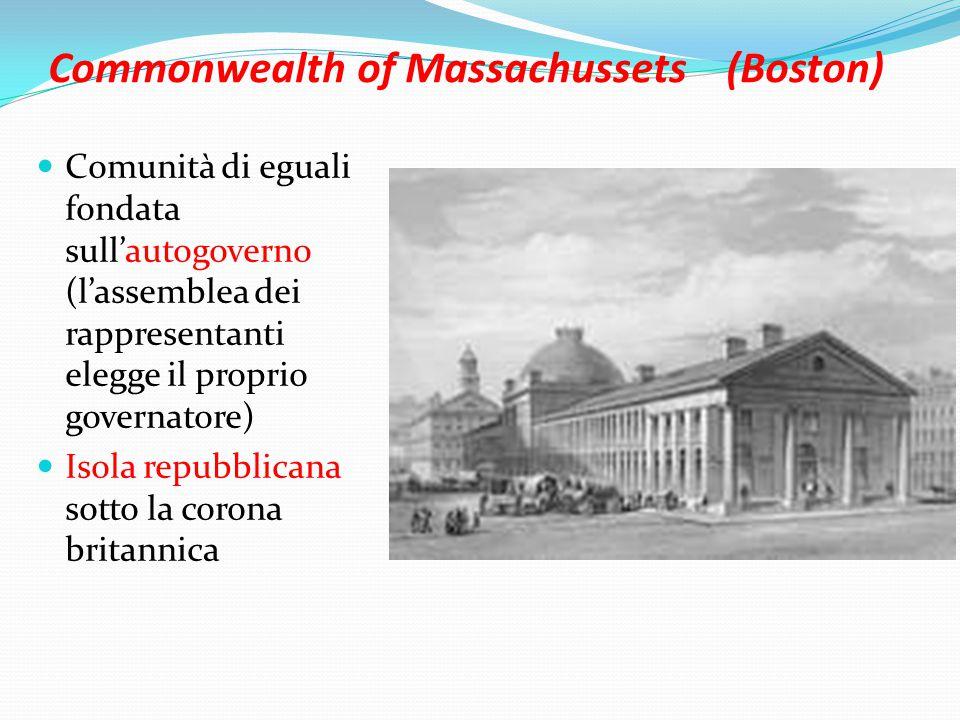 Commonwealth of Massachussets (Boston) Comunità di eguali fondata sull'autogoverno (l'assemblea dei rappresentanti elegge il proprio governatore) Isola repubblicana sotto la corona britannica