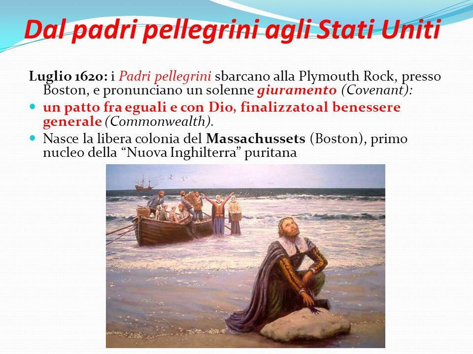 Dal padri pellegrini agli Stati Uniti Luglio 1620: i Padri pellegrini sbarcano alla Plymouth Rock, presso Boston, e pronunciano un solenne giuramento (Covenant): un patto fra eguali e con Dio, finalizzato al benessere generale (Commonwealth).