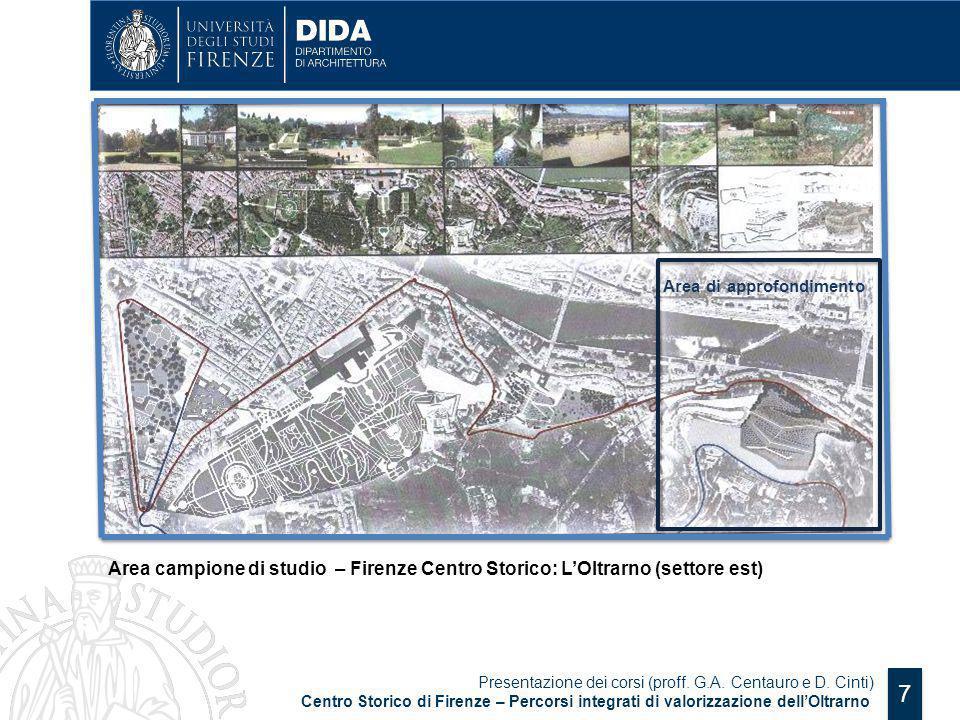 7 Area campione di studio – Firenze Centro Storico: L'Oltrarno (settore est) Presentazione dei corsi (proff. G.A. Centauro e D. Cinti) Centro Storico