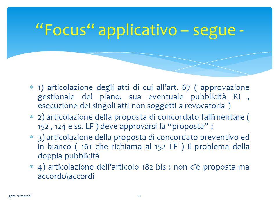  1) articolazione degli atti di cui all'art. 67 ( approvazione gestionale del piano, sua eventuale pubblicità RI, esecuzione dei singoli atti non sog