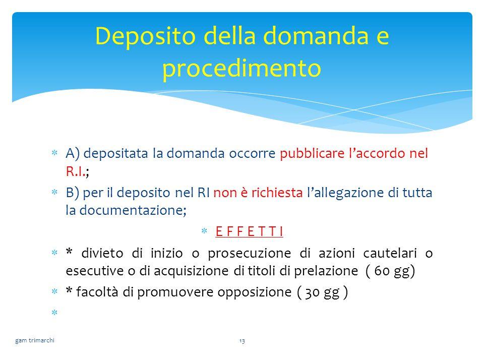  A) depositata la domanda occorre pubblicare l'accordo nel R.I.;  B) per il deposito nel RI non è richiesta l'allegazione di tutta la documentazione