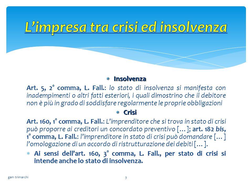  Insolvenza Art. 5, 2° comma, L. Fall.: lo stato di insolvenza si manifesta con inadempimenti o altri fatti esteriori, i quali dimostrino che il debi