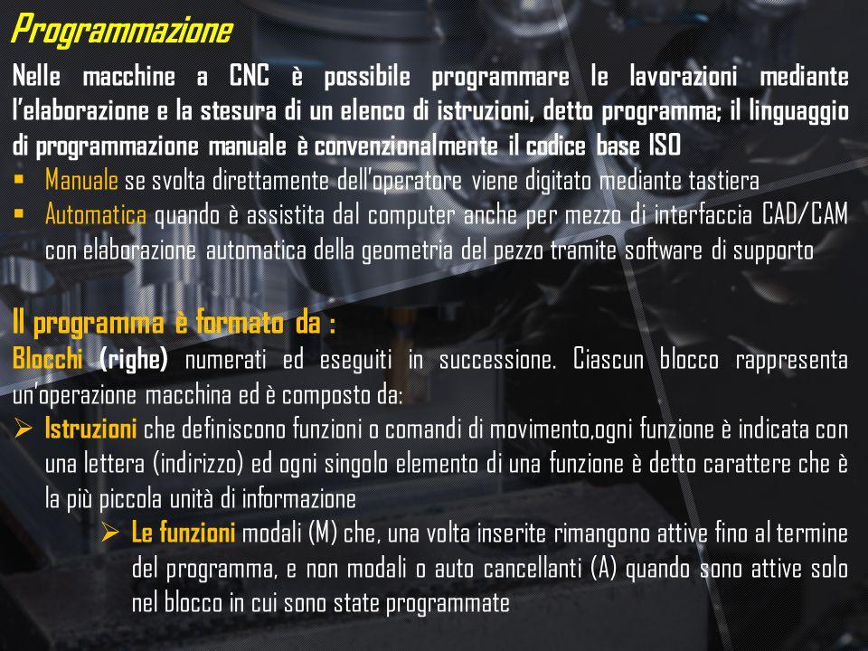 Programmazione Nelle macchine a CNC è possibile programmare le lavorazioni mediante l'elaborazione e la stesura di un elenco di istruzioni, detto prog