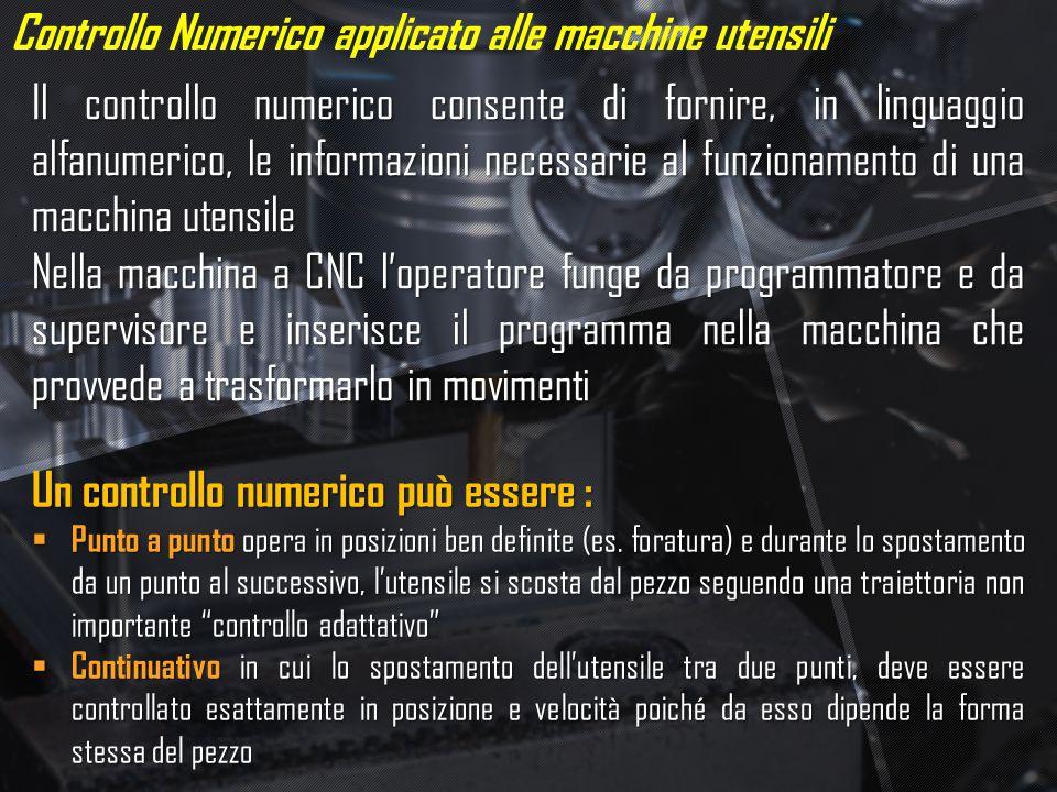 Controllo Numerico applicato alle macchine utensili Il controllo numerico consente di fornire, in linguaggio alfanumerico, le informazioni necessarie